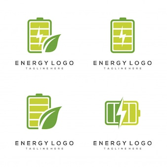 Set of environmentaly friendly battery energy logo