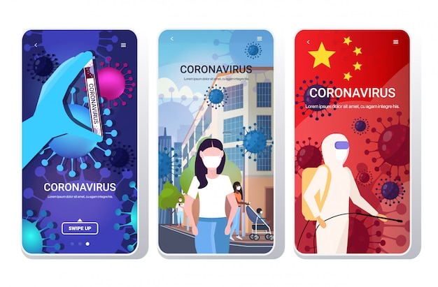 Set epidemic mers-cov bacteria floating influenza virus cells wuhan coronavirus quarantine 2019-ncov concepts collection phone screens mobile app copy space