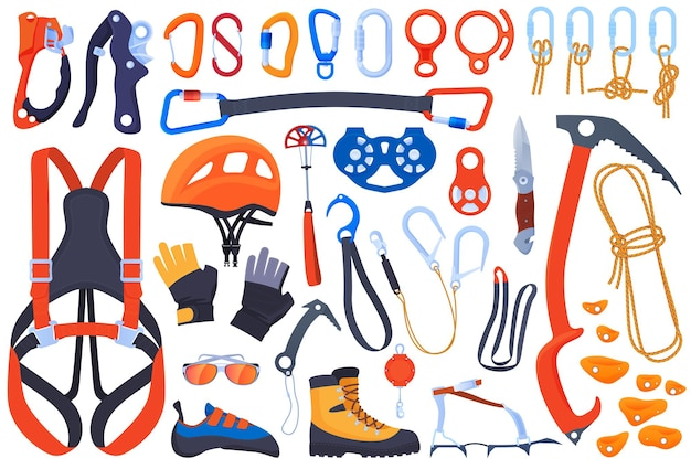 Set of equipment for climbing, climbers. insurance, carbines, ice ax. helmet, boots, claws, gloves. extreme sports.