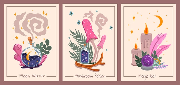 Set of esoteric wall decor with magic ball mushrooms bottles and candles tarot card aesthetic kids style handdrawn vector illustration flat design