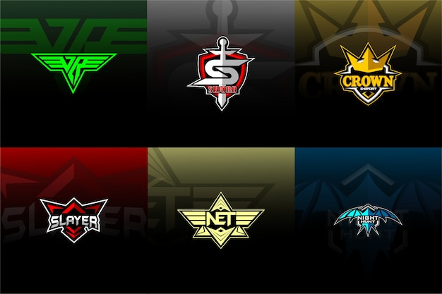 Set esport/sport logo with background