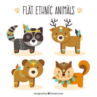 Set di animali etnici in design piatto