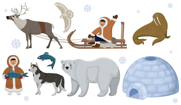 Set of ethnic eskimos with polar animals. polar owl, bear, walrus, deer.   isolated on white background.