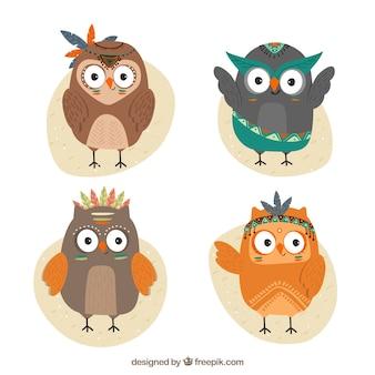 Set of ethnic flat owls