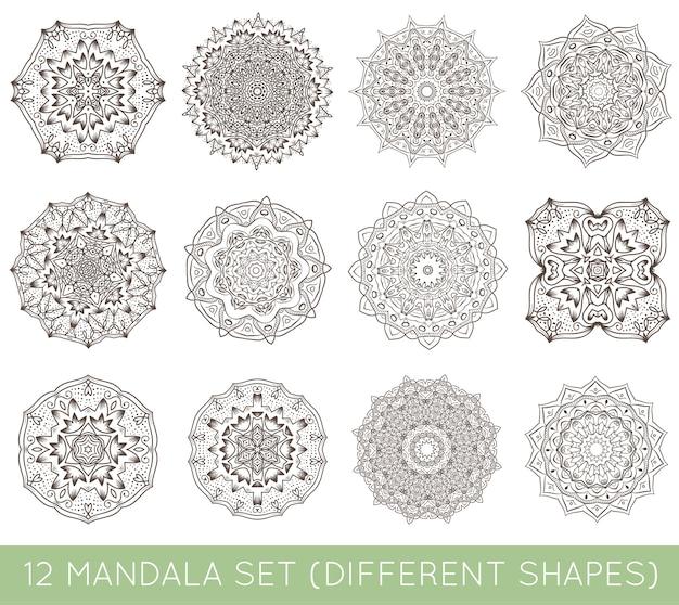 Set of ethnic fractal mandala  meditation tattoo looks like snowflake or maya aztec pattern or flower too isolated on white
