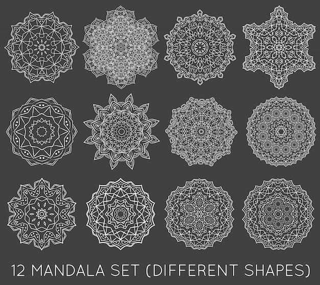 Set of ethnic fractal mandala meditation