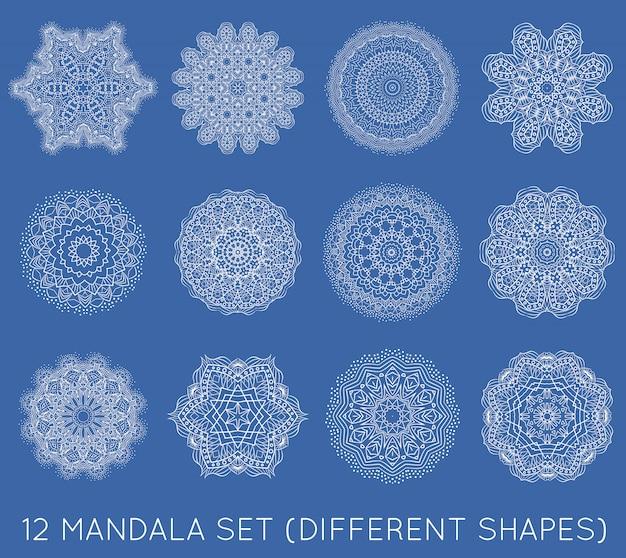 Set of ethnic fractal mandalas