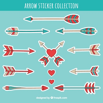 Set of ethnic hand drawn arrow stickers