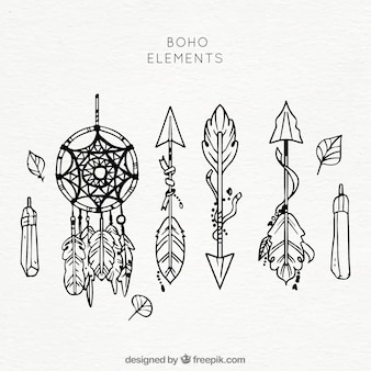 Set of ethnic hand drawn elements
