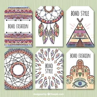 Set di etnia disegnati a mano le etichette