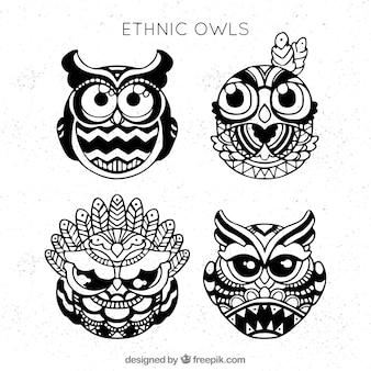 Set of ethnic hand drawn owls