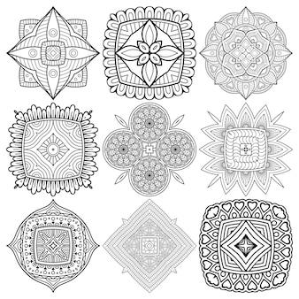 Set di disegno mandala etnico.