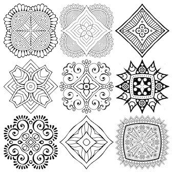 Set of ethnic mandala drawing.
