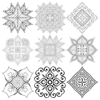 Set of ethnic mandala drawing.