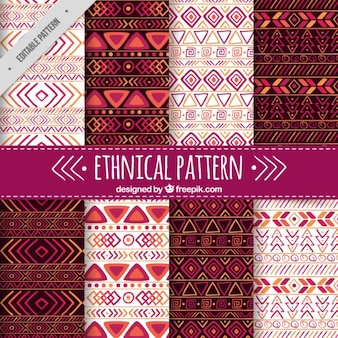 Set of ethnic patterns with purple details