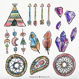Set di elementi etnici acquerello