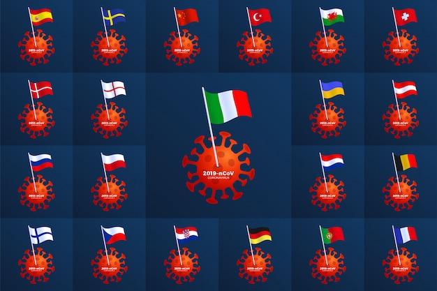 유럽 국가 국기를 코로나 바이러스에 고정하십시오. 2019-ncov 발생을 중지하십시오. 코로나 바이러스 위험 및 공중 보건 위험 질병 및 독감 발생. 위험한 세포와 전염병 의료 개념