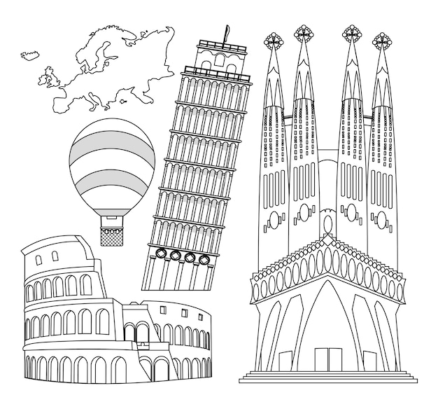 Set of europe monuments