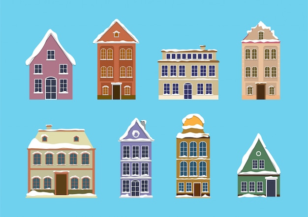 Set of european colorful old houses with snow. flat design