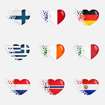 Set of european country flags in hearts
