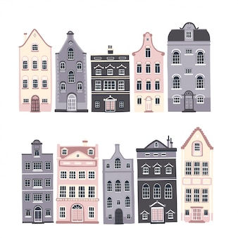 Set of european houses with vintage windows and doors in cute scandinavian style