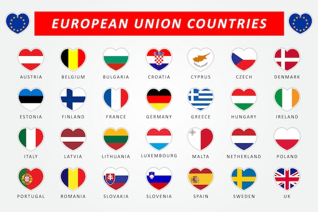 Set of european union countries heart flags