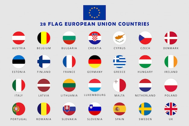 Set of european union countries round flags