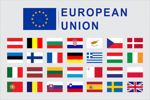 Set of european union flag countries