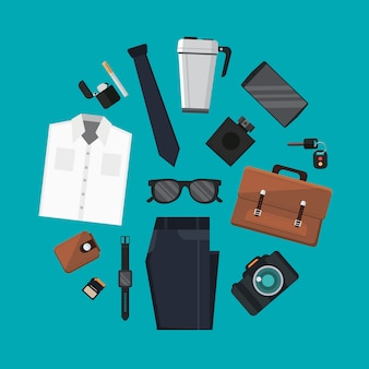 Set of every day carry and outfit accessories in circle shape illustration