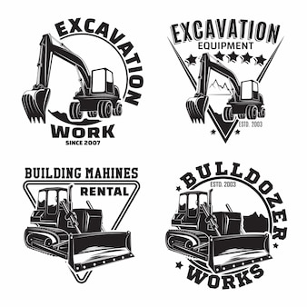 Set of excavation work emblems design, emblems of bulldozer or building machine rental organisation print stamps, constructing equipment, heavy bulldozer machine typographyv emblems