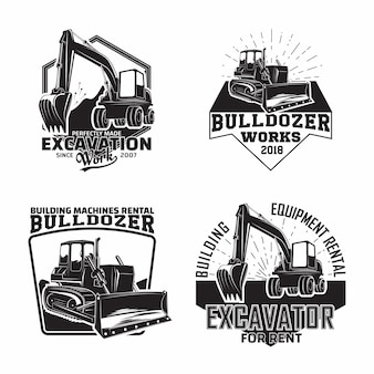 Set of excavation work emblems design with emblems of bulldozer or building machine