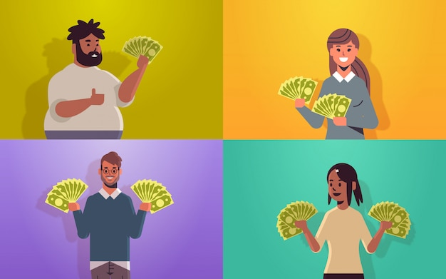 Set excited people holding money bills financial success wealth concept cheerful men women with dollar banknotes horizontal portrait