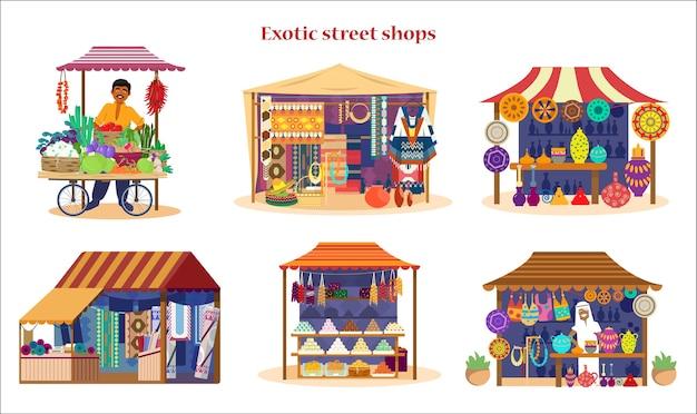 Set of exotic asian street shops