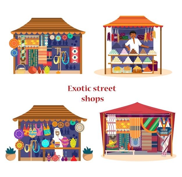 Set of exotic street shops asian market