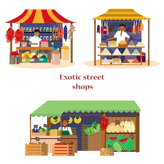 Set of exotic street shops with sellers