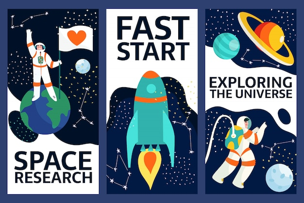 Set of exploring space banners .spaceman in outer space with stars, moon, rocket, asteroids, constellation on background. astronaut out of spaceship exploring universe and galaxy.