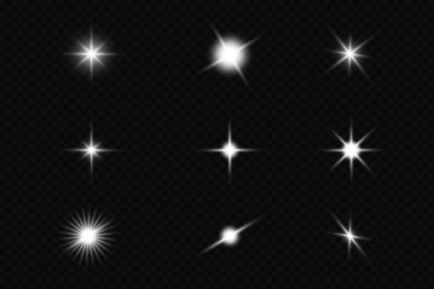 Set of explosion sun. star shining. glow light effect.