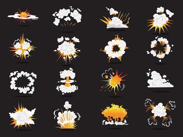 Set of explosive boom effect.