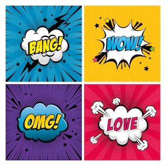 Set of expressions style pop art