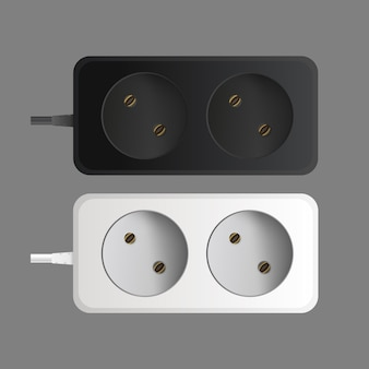 Set of extension cords with two sockets. portable power socket. realistic style vector.