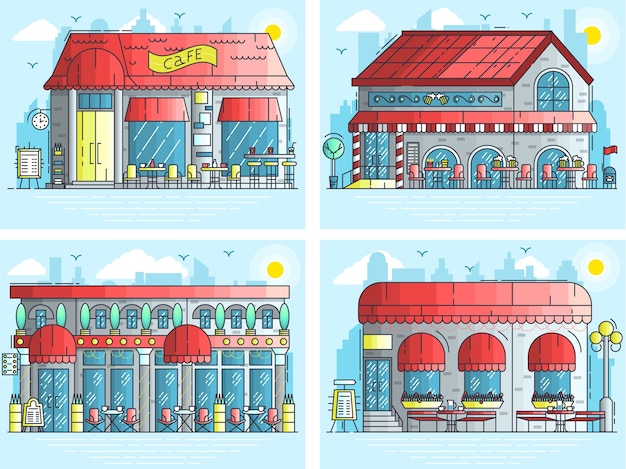 Set of exteriors of little cute cafe buildings on the street