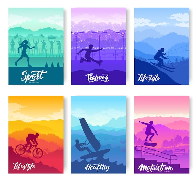 Set of extreme on nature template flyers