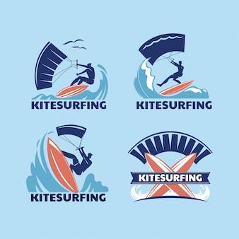 Set of extreme sport kitesurfing