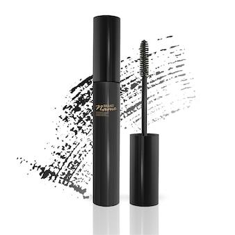Set of eyelash brushes with bright mascara isolated