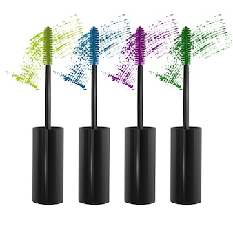 Set of eyelash brushes with bright mascara isolated