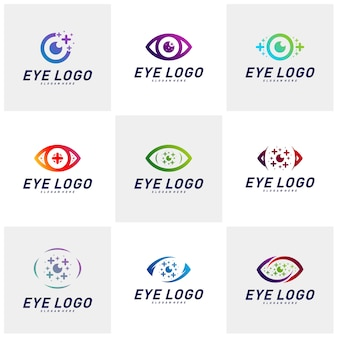 Set of eyes with icons health logo design concept vector. health eye logo template. icon symbol.
