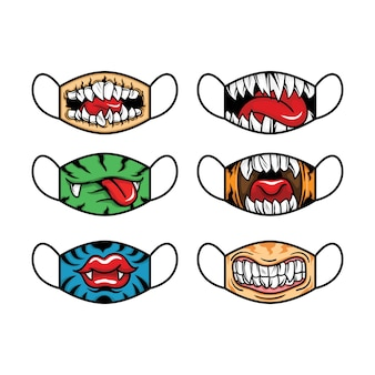 Set of fabric face mask. mouth and  tongue concept. vector illustration.