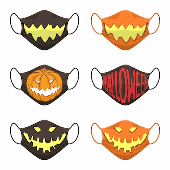 Set of fabric face mask with halloween icon