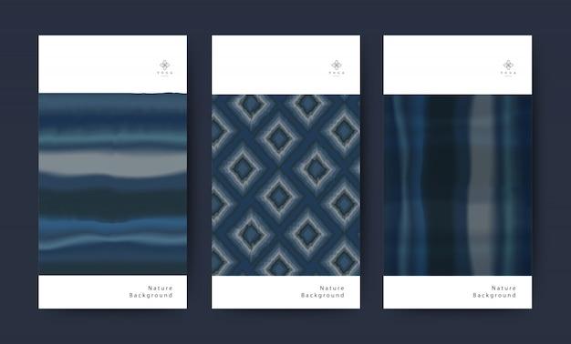 Set of fabric texture indigo nature tie dye. watercolor illustration