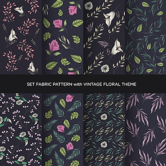Set fabric vintage floral pattern collection with dark background